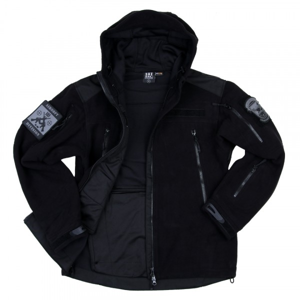 Heavy Duty Fleece Vest Black With Hoodie