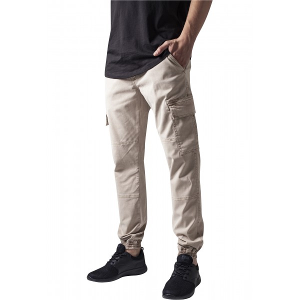 Washed Cargo Twill Jogging Pants Sand