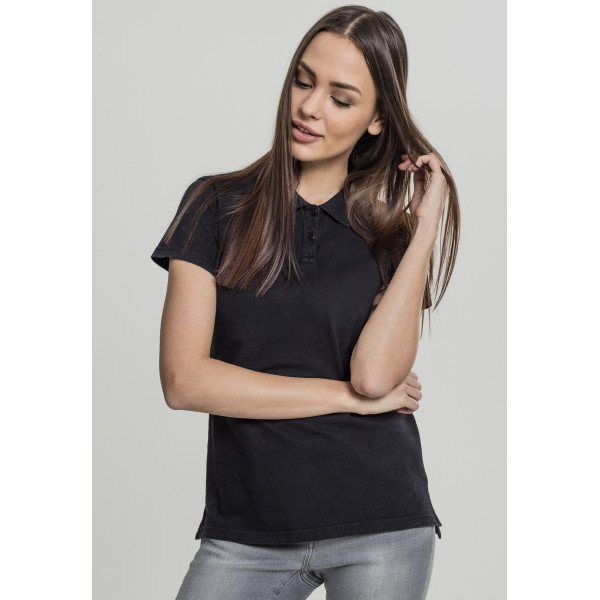 Ladies Washed Polo Tee Black