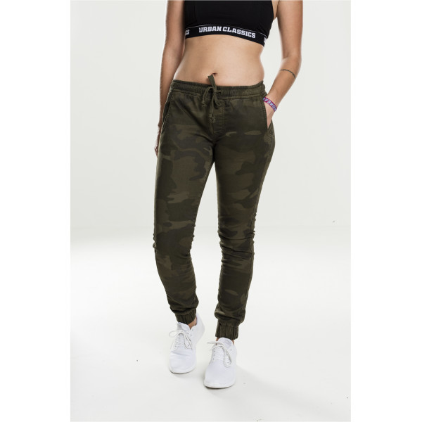 Ladies Camo Jogging Pants Olive CAmo